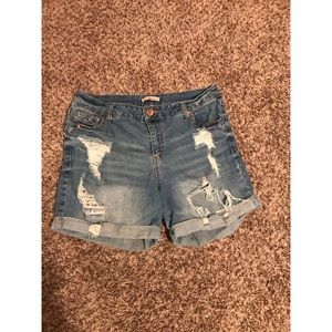 High waist distressed denim shorts.